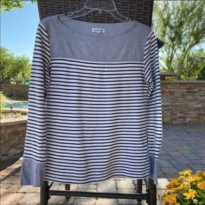 Lacoste Long Sleeve Striped Chambray Knit Top 38